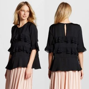 Who What Wear Classic Black Ruffle Blouse